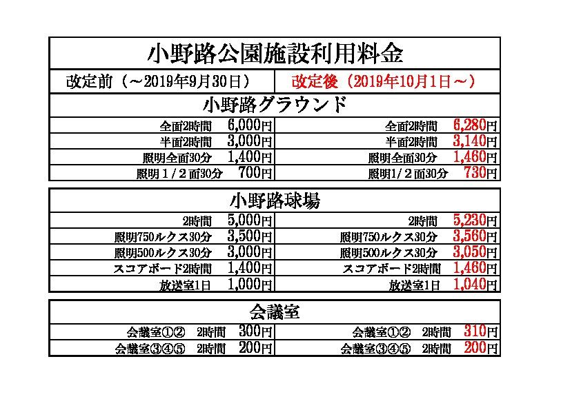 利用料金変更(2019,10月1日~)のサムネイル